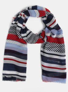 Červeno-modrá pruhovaná šatka Tommy Hilfiger