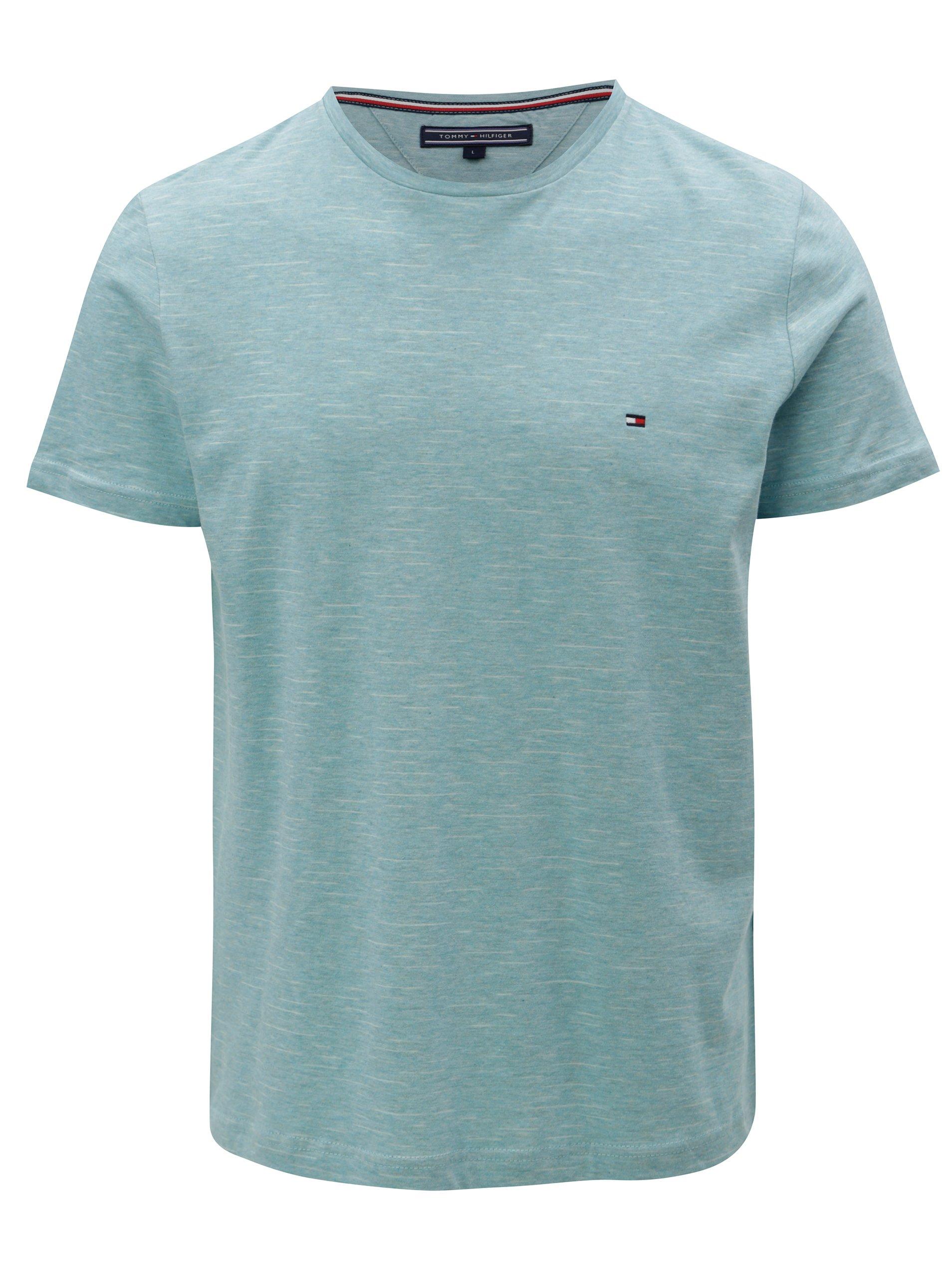 701942b108 Tyrkysové melírované pánske tričko Tommy Hilfiger