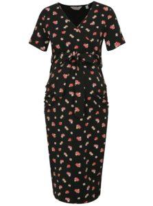 Ružovo–čierne kvetované tehotenské šaty na dojčenie Dorothy Perkins Maternity