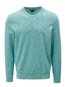 Krémovo-zelený melírovaný sveter Tommy Hilfiger
