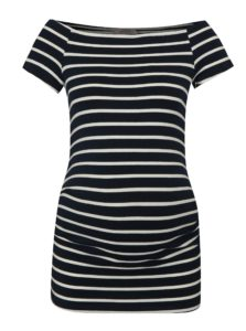 Krémovo–modré pruhované tehotenské tričko Dorothy Perkins Maternity