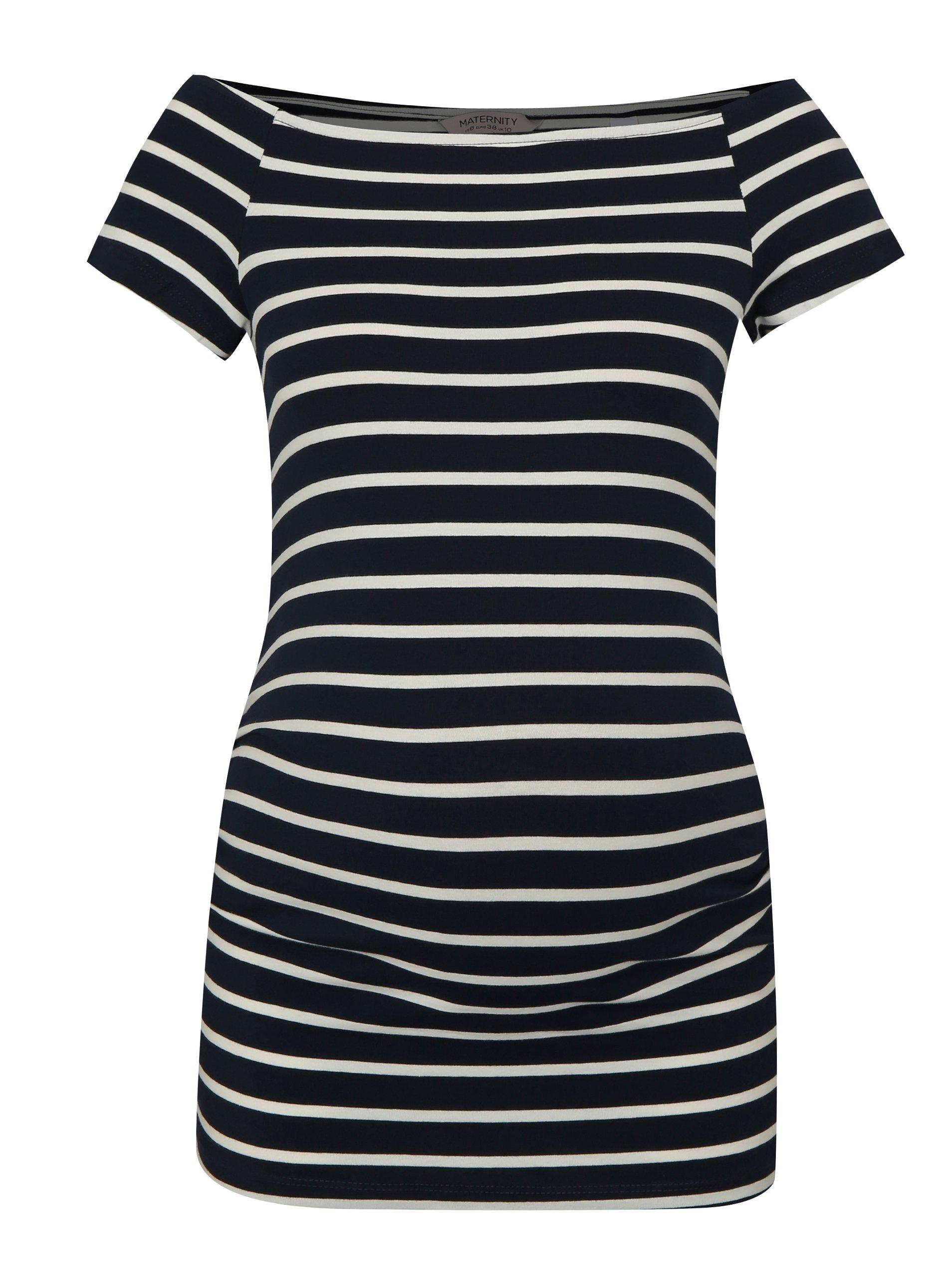 1408975f096c Krémovo–modré pruhované tehotenské tričko Dorothy Perkins Maternity ...