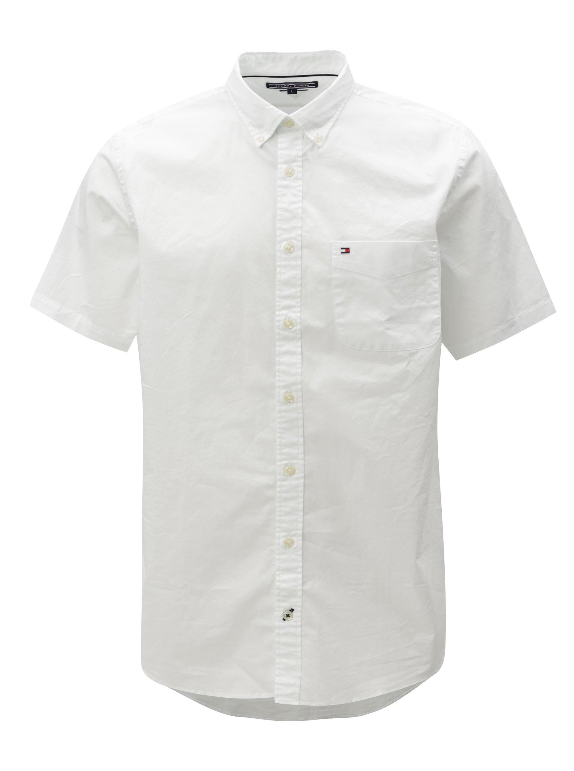 ef922782b12f Biela pánska košeľa s krátkym rukávom Tommy Hilfiger