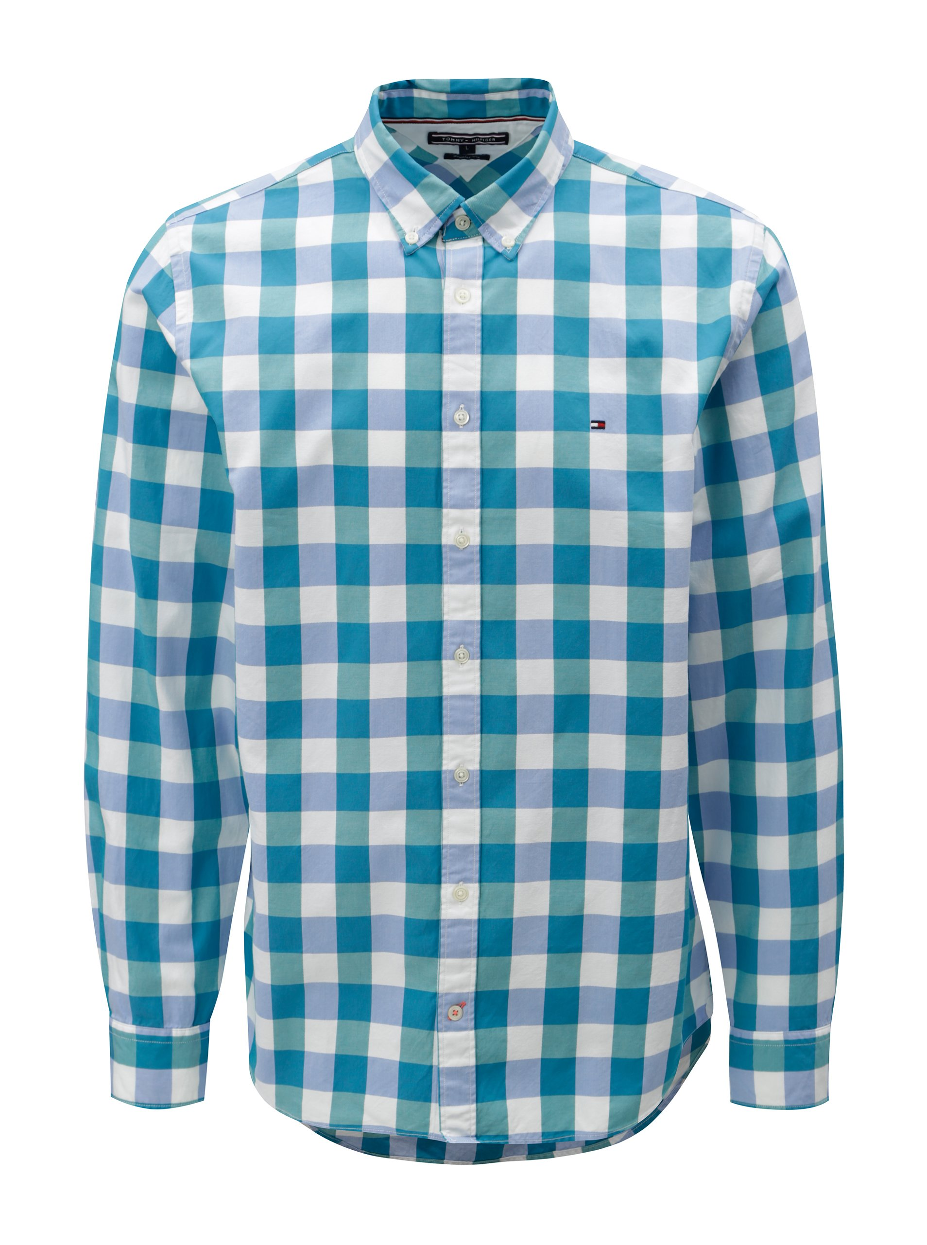 a5822f708701 Bielo-zelená pánska kockovaná regular fit košeľa Tommy Hilfiger ...