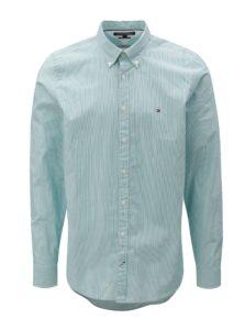 Bielo-zelená pánska pruhovaná slim fit košeľa Tommy Hilfiger