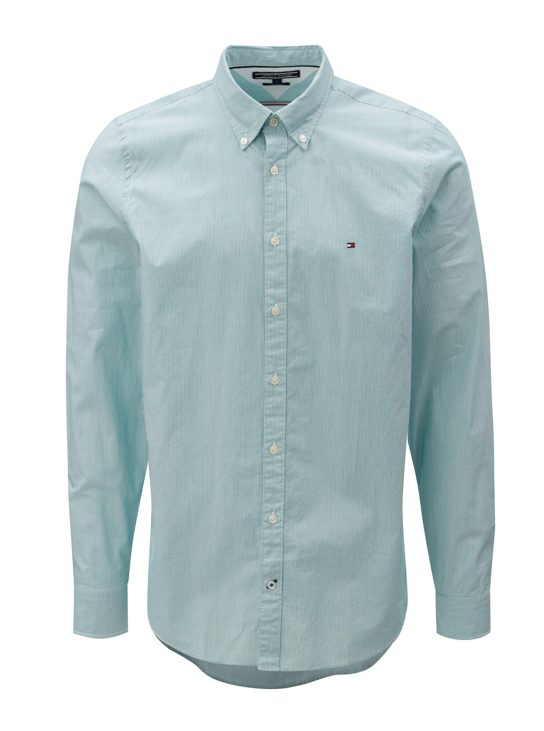 426da4eac384 Bielo-zelená pánska pruhovaná slim fit košeľa Tommy Hilfiger