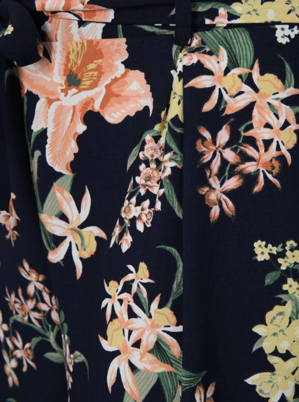 Tmavomodré kvetované kraťasy Dorothy Perkins Curve