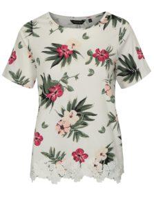 Krémové kvetované tričko s čipkou Dorothy Perkins Curve