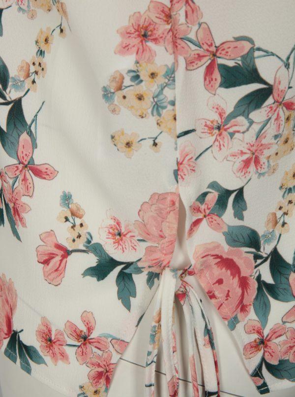 Krémová kvetovaná blúzka bez rukávov Dorothy Perkins Curve