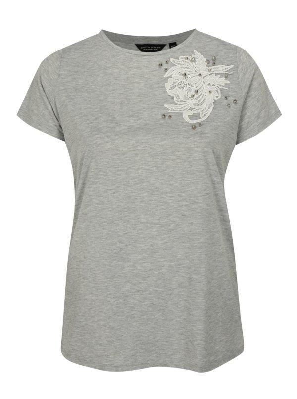 Sivé tričko s ozdobnými detailmi Dorothy Perkins Curve