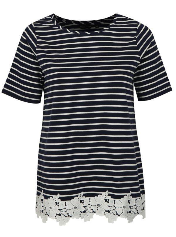 Tmavomodré pruhované tričko s čipkou Dorothy Perkins Curve
