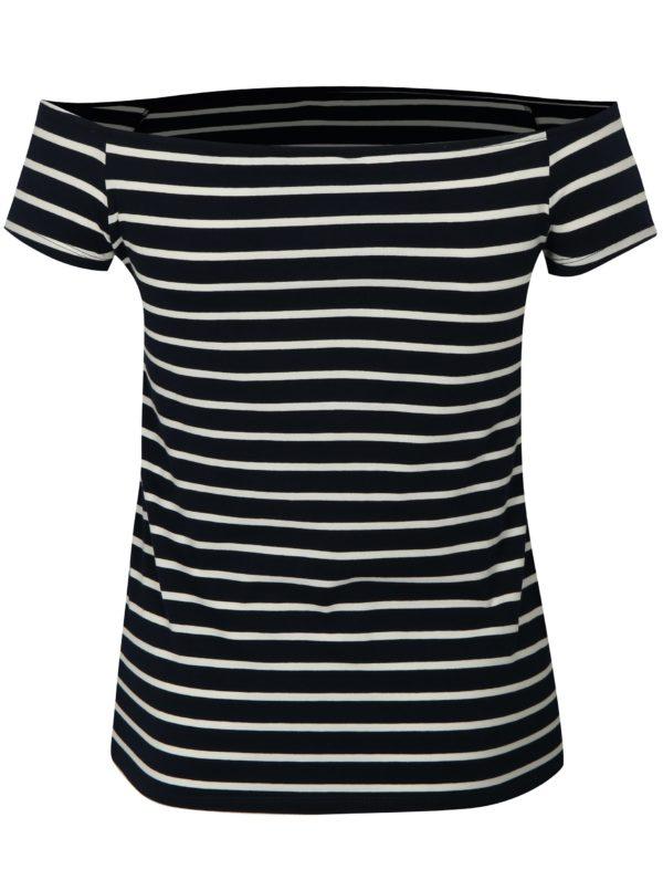 Tmavomodré pruhované tričko s odhalenými ramenami Dorothy Perkins Curve
