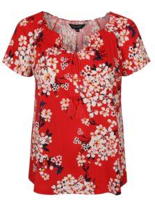 Červené kvetované tričko s krátkym rukávom Dorothy Perkins Curve