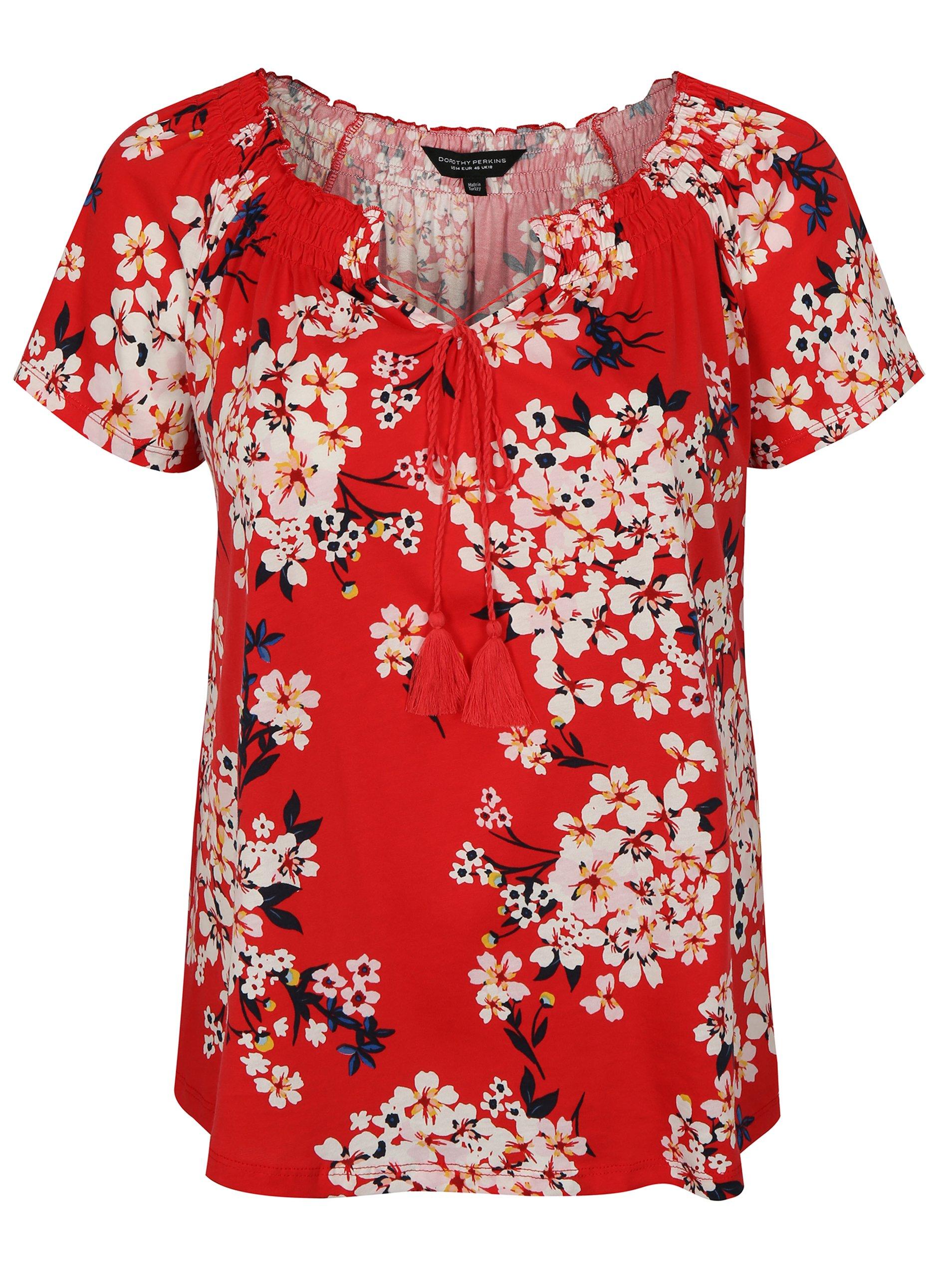 78de1310a0c6 Červené kvetované tričko s krátkym rukávom Dorothy Perkins Curve ...