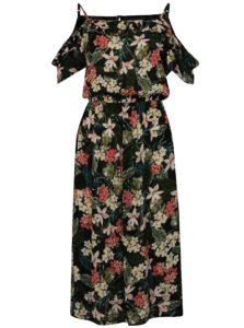 Čierno-zelené midišaty s odhalenými ramenami Dorothy Perkins Tall