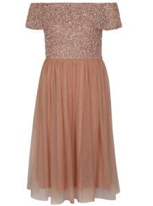 Staroružové šaty s odhalenými ramenami a ozdobnými flitrami Dorothy Perkins