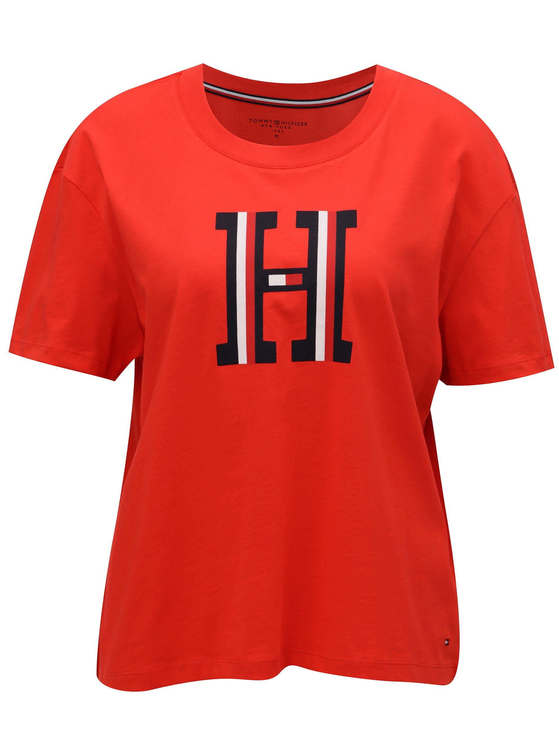 Červené dámske tričko Tommy Hilfiger  01dfef327b9