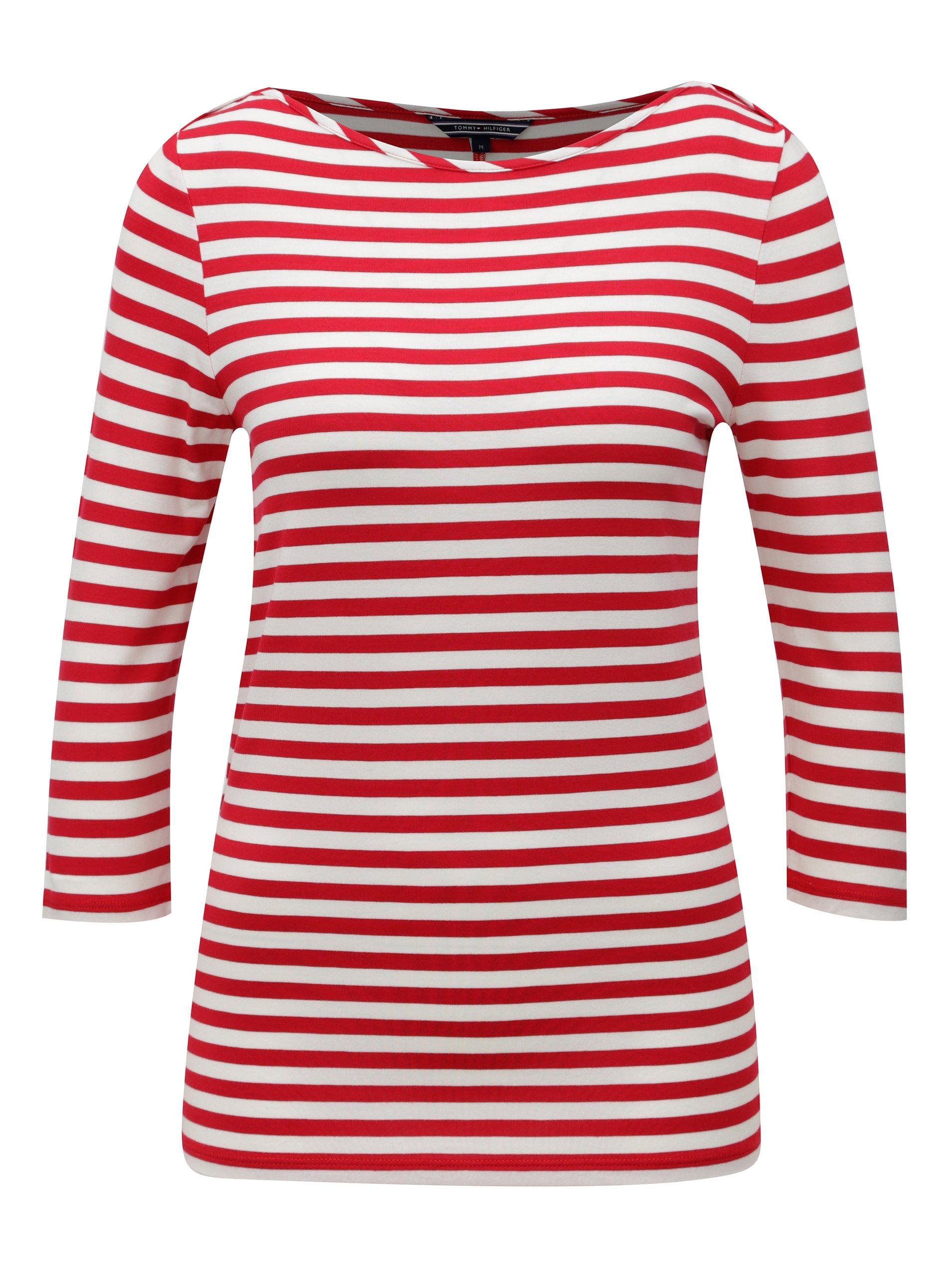 51ef7f8405 Bielo-červené dámske pruhované tričko Tommy Hilfiger