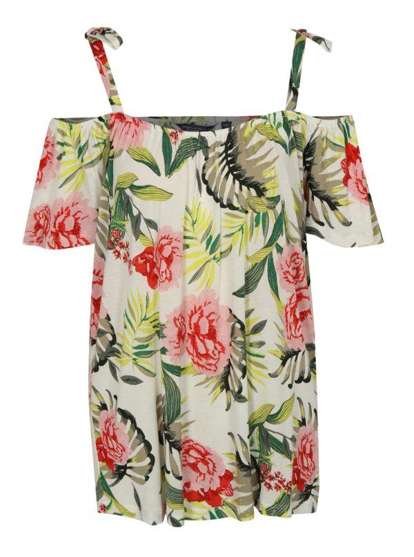 Zeleno-krémové kvetované tričko s odhalenými ramenami Dorothy Perkins Tall