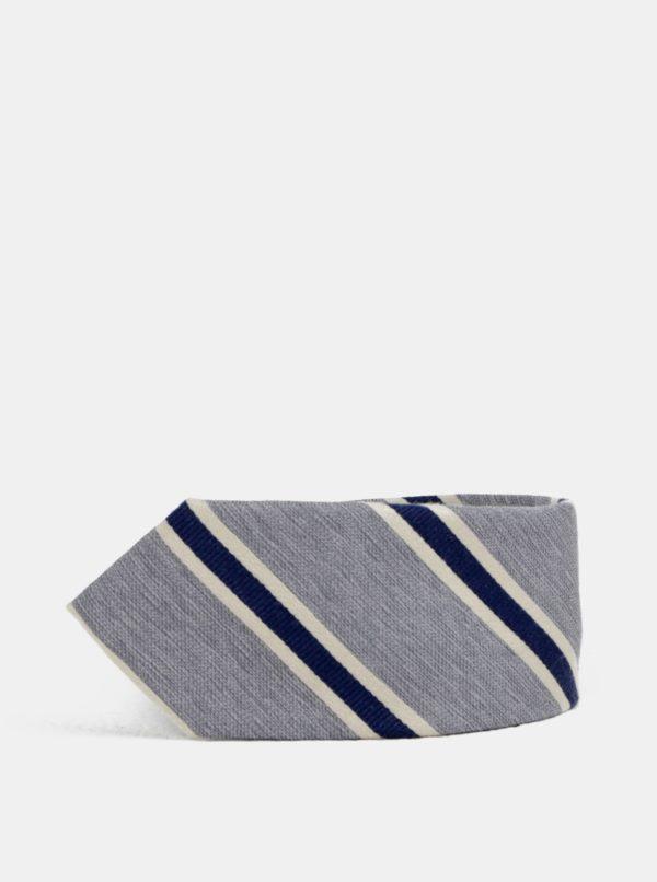 Sivá pruhovaná slim kravata Jack & Jones