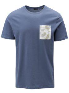 Modré tričko s náprsným vreckom ONLY & SONS