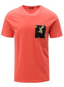 Červené tričko s náprsným vreckom ONLY & SONS