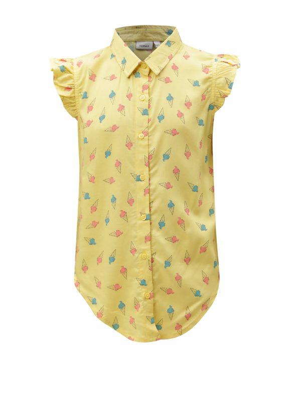 Žltá vzorovaná dievčenská blúzka name it Junia