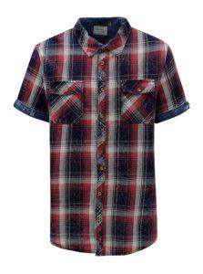 Modro-vínová kockovaná slim fit košeľa Blend