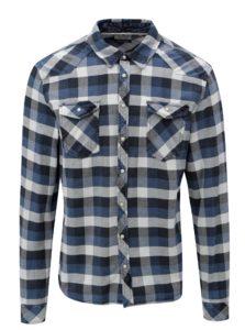 Modrá kockovaná slim fit košeľa Blend