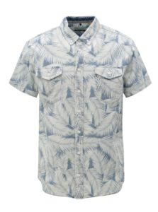 Modro-krémová vzorovaná slim fit košeľa Blend