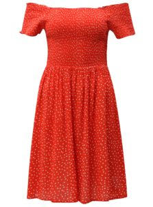 Červené bodkované šaty s odhalenými ramenami Blendshe Dotta