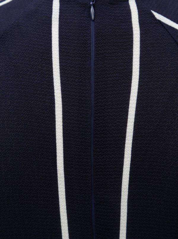 Tmavomodré pruhované šaty s uzlom a 3/4 rukávom AX Paris