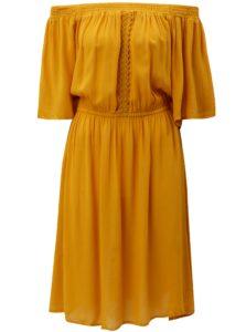 Horčicové šaty s odhalenými ramenami Blendshe Karodal