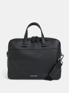 Čierna pánska kožená taška na notebook Calvin Klein Jeans