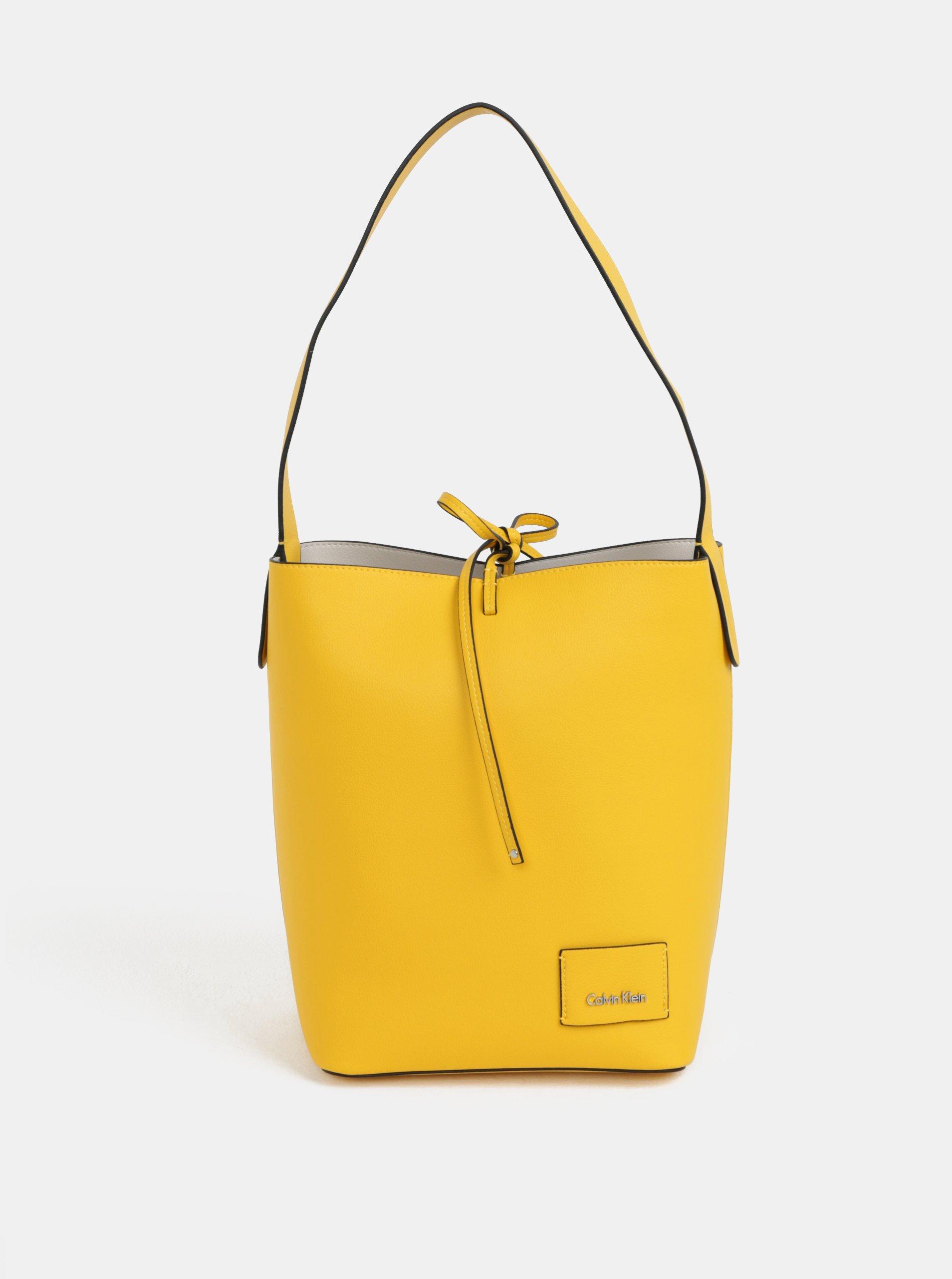 24f249d1cf Žltá veľká koženková kabelka s puzdrom Calvin Klein Jeans