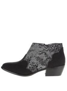 Čierne členkové topánky s dekorom Ruby Shoo Juliette