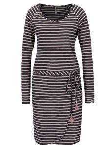 Ružovo-čierne pruhované šaty Ragwear Glitter Organic