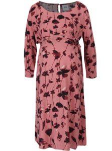 ce57e0d92 Staroružové kvetované tehotenské šaty s 3/4 rukávom Mama.licious Leaf