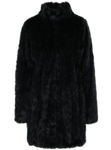 Čierny kabát z umelej kožušiny s vreckami Dorothy Perkins