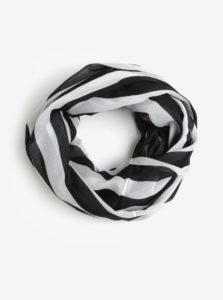 Bielo-čierna pruhovaná dutá šatka Pieces Strila