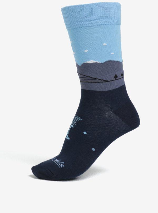 Tmavomodré unisex ponožky so vzorom Fusakle Štrbské pleso