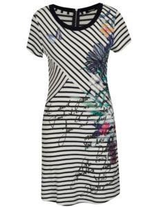 Modro-krémové pruhované šaty s krátkym rukávom Desigual Alfredo