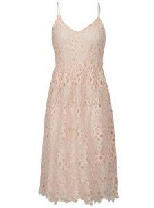 Svetloružové čipkované šaty na ramienka VILA Dalton