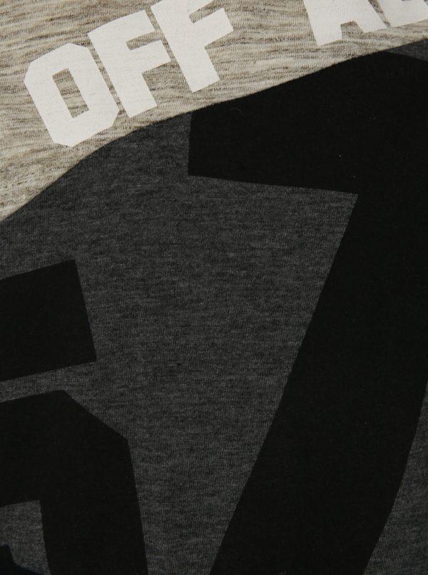 Čierno-sivé chlapčenské melírované tričko s potlačou Mix´n Match