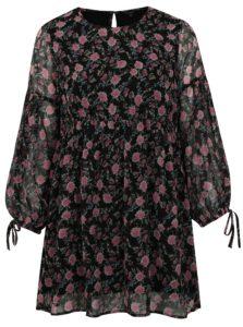Čierne kvetované šaty s dlhým rukávom simply be.