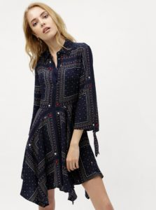 Tmavomodré vzorované košeľové šaty Tommy Hilfiger