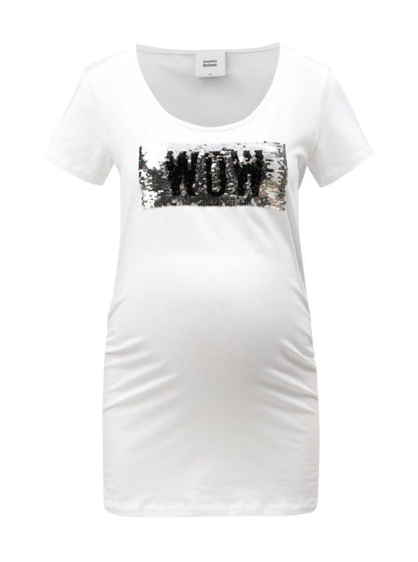 Biele tehotenské tričko s magickými flitrami Mama.licious Mica