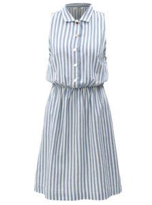 Bielo-modré pruhované košeľové šaty Moss Copenhagen
