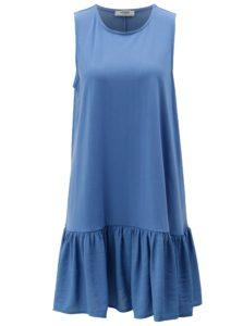 Modré voľné šaty s volánom Moss Copenhagen