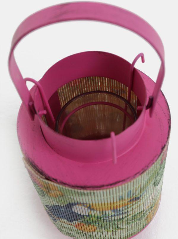 Ružový malý kovový lampáš s bambusom a motívom tukana Kaemingk